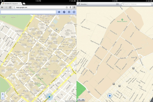 iOS 6 Apple Maps Google Maps Comparison