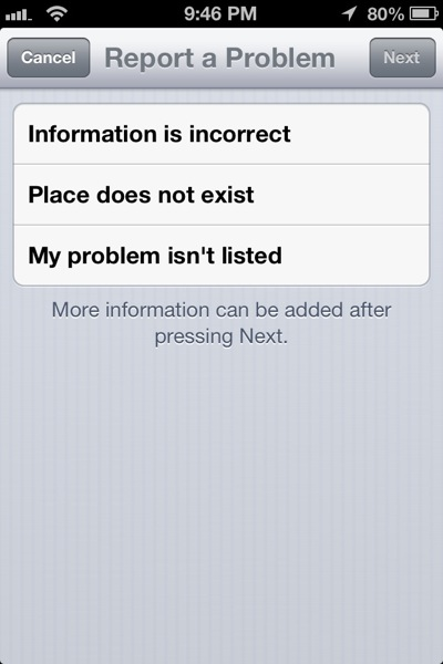 iOS 6 Apple Maps Report a Problem