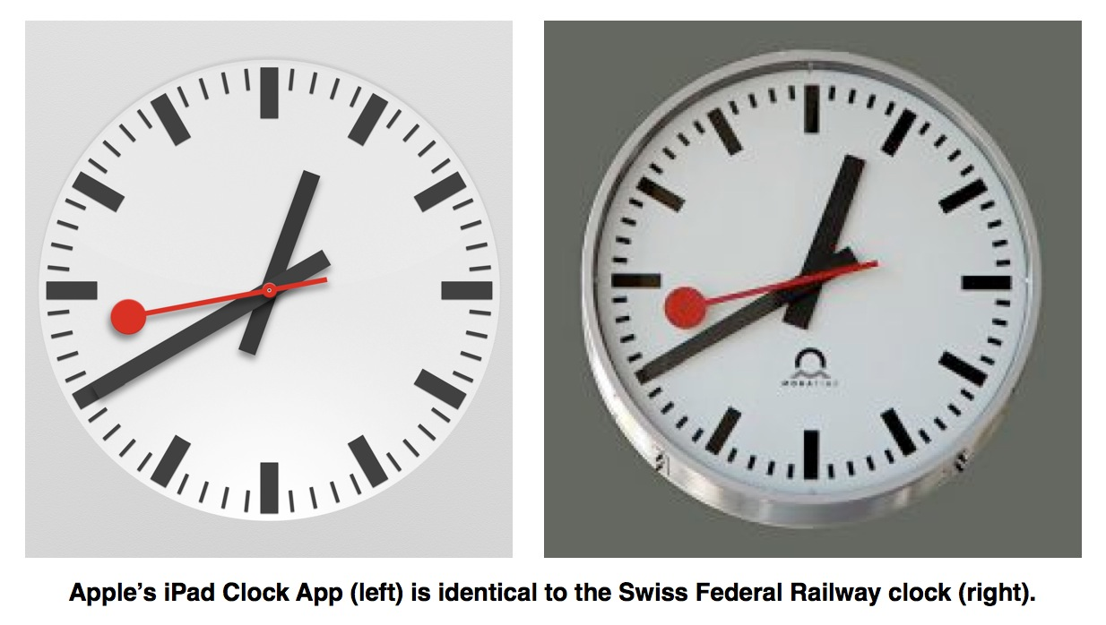 Apple iPad Clock Swiss Railway Comparison