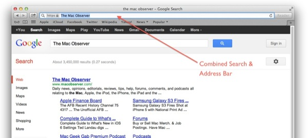 Safari 6 Combined Search and Address Bar