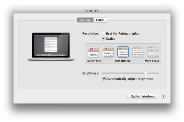 Retina MacBook Pro Built In Resolution Choices