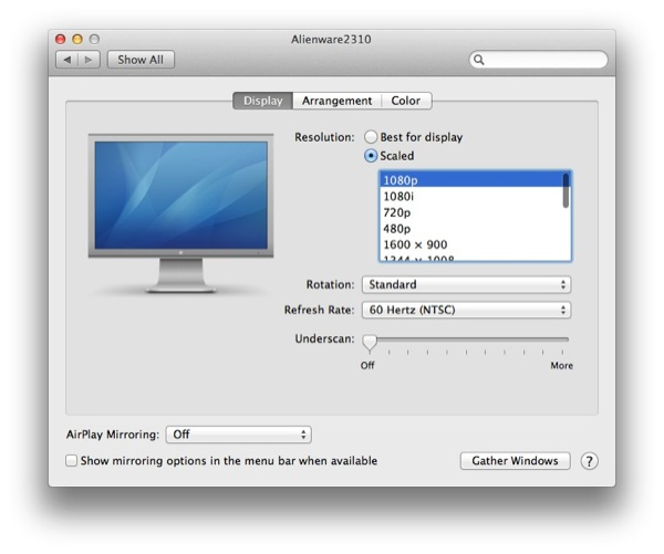Retina MacBook Pro External Monitor Resolutions Option Key