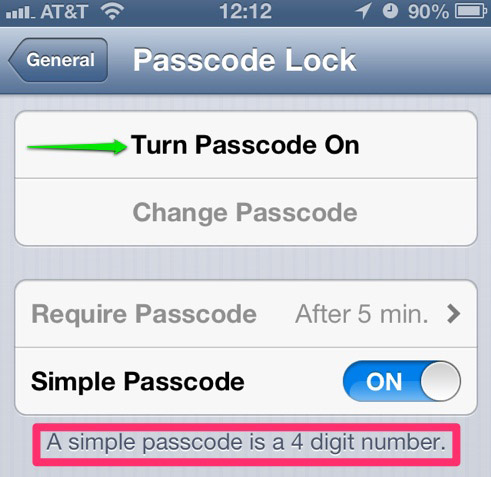 The iPhone Passcode Lock settings panel.