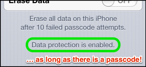 The Passcode Lock panel indicates that Data Protection is enabled.
