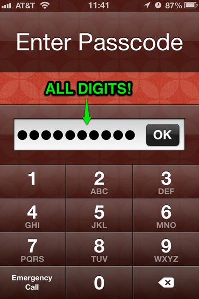 The Lock Screen prompts for your multi-digit passcode with a numeric keypad.