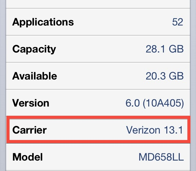 Verizon iPhone 5 Carrier Update