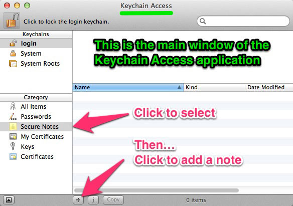 The main window of the Keychain Access app.