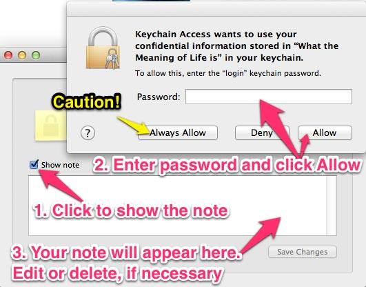 The password prompt for opening a secure note.