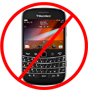 BlackBerry phone with a prohibited symbol