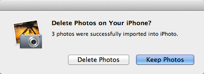 iPhoto dialog asking if photos should be deleted from the iPhone after import.
