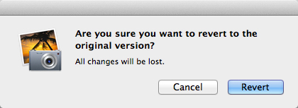 The dialog box warning that reverting to the original version will result in losing any changes made.
