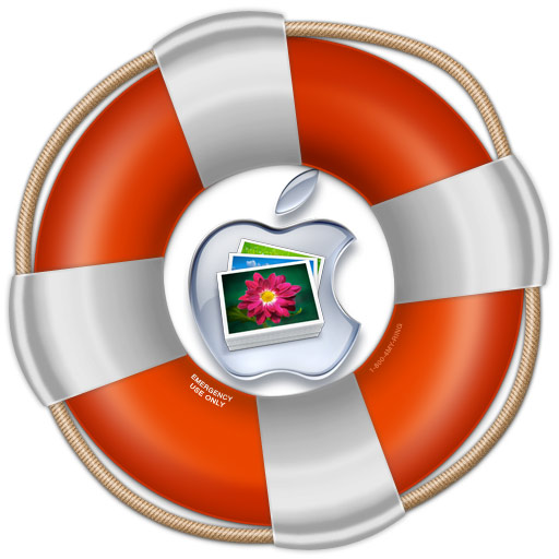 An Apple logo and iPhoto Library icon inside a life preserver.