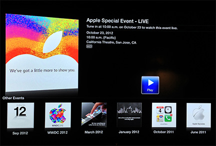 Apple TV now shows today's and previous media events