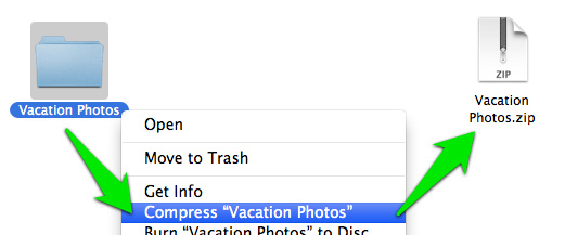 Selecting Compress when right-clicking a folder.