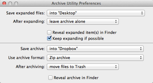 The Archive Utility Preferences Pane.