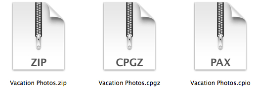 Icons representing .zip, .cpgz, and .cpio archive files.
