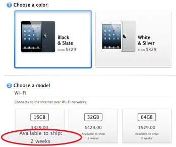 Apple sells out iPad mini preorders