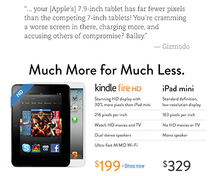 Amazon ad: Kindle Fire HD is better, Apple is