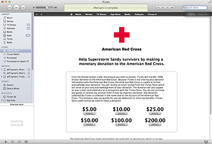 iTunes Store offers Red Cross support for Hurricane Sandy relief efforts