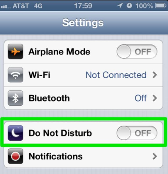The Settings pane showing the Do Not Disturb control.