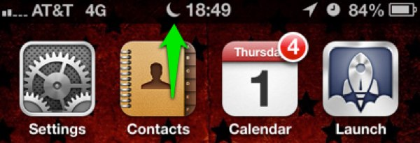 The Status Bar shows a quarter-moon indicating that Do Not Disturb is enabled.