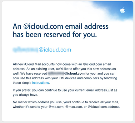 Apple rolls out iCloud.com email addresses for MobileMe users