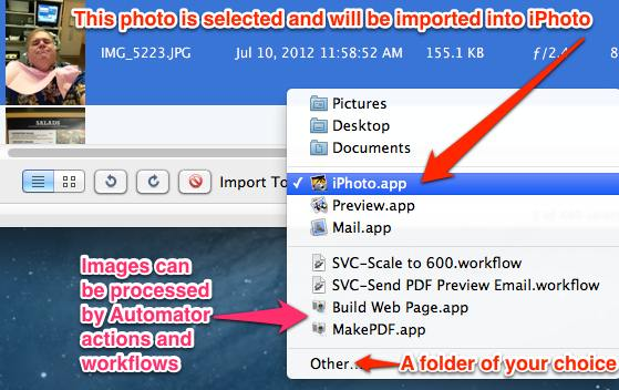 Pop-up menu in Image Capture allows you to select an import destination.