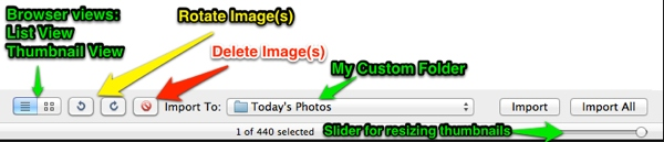 The bar at the bottom of the Image Capture browser contains other controls for selected images.