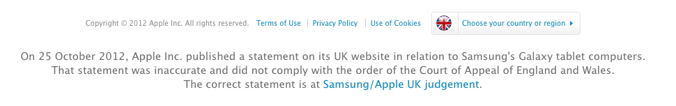 Apple's UK website acknowledgement
