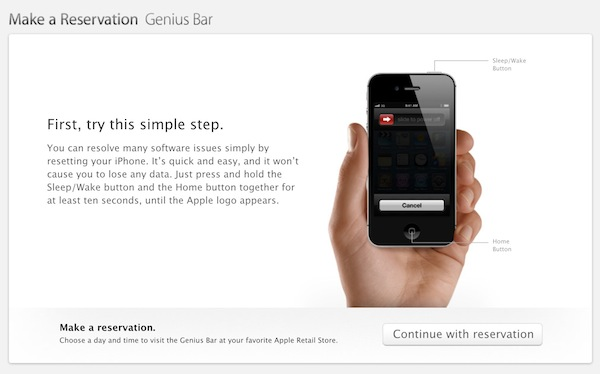 Genius Bar iPhone Reset