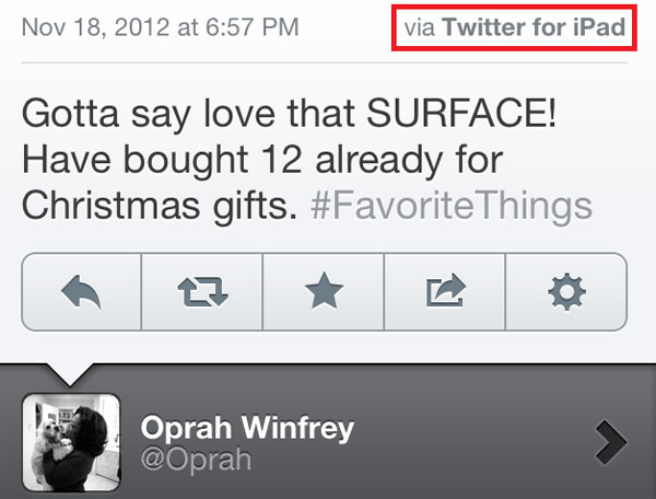 Oprah on Twitter (via iPad)