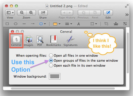 An example of an annotated preferences panel using Preview's annotation tools.