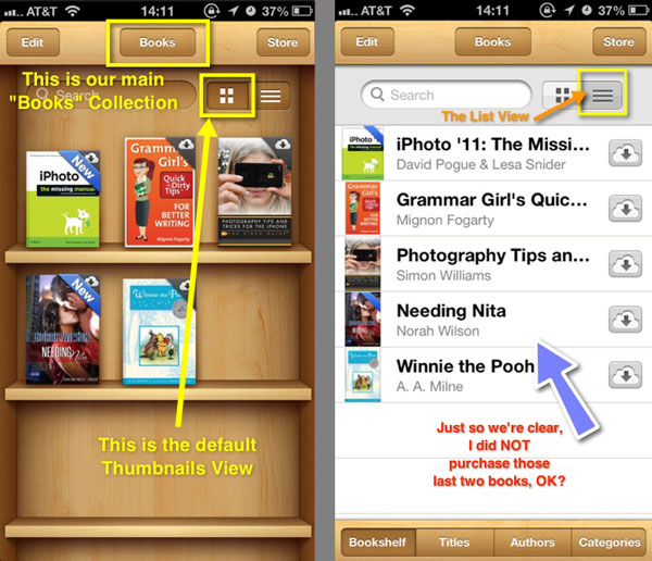 Two iPhone screenshots showing the two different views of the iBooks Library.