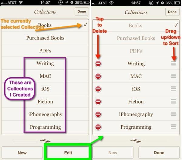 Tapping on the collection name at the top of the iBooks screen will display the complete list of the collections in your Library.