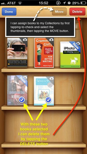 The iBooks screen showing checked and selected books ready to be moved to other Collections or deleted.
