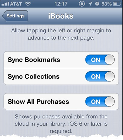 The iBooks Settings pane.