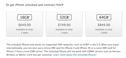 iPhone 5 now available unlocked