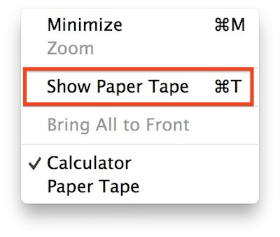 Apple OS X Calculator Show Paper Tape
