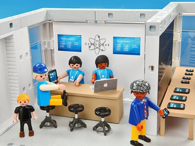 A child's toy set depicting a Genius Bar at the Apple Store.