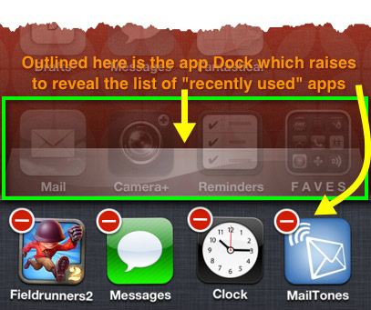 An iPhone screen shows the standard app Dock raising to reveal the list of