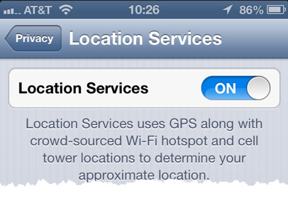 The Privacy Settings pane leads to the Location Services pane.
