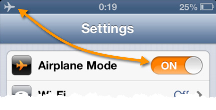 The Airplane Mode switch is the first item listed in the Settings pane.