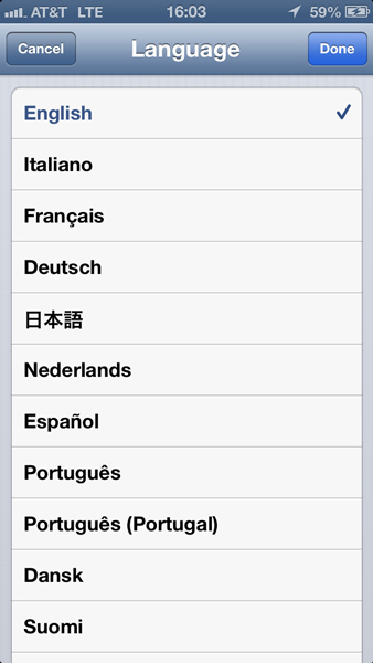 The Languages Settings pane for setting the System Language.