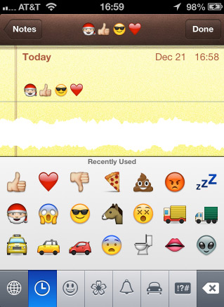 The Emoji keyboard in the Notes app.