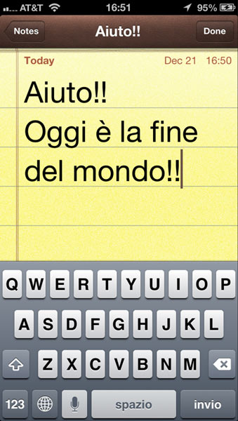 Italian text dictated in the Notes app.