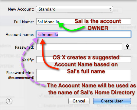 The New Account pane in User & Groups Settings.