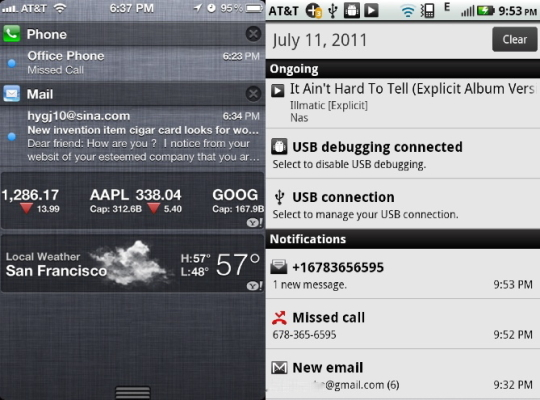 iOS Notification Center vs Android Notifications
