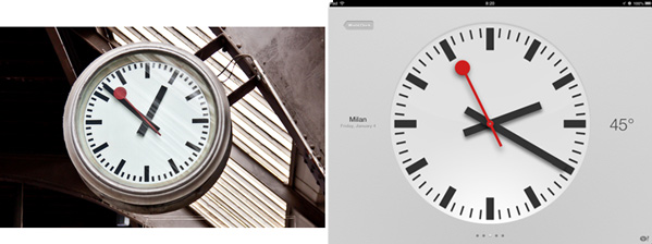 Side-by-side comparison of clock-face used by the Swiss Federal Railway and the clock design used in the iPad Clock app.