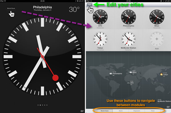 Tapping on the World Clock button on the large clock screen leads to a panel showing all the selected city clocks.