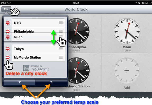 The World Clock edit pane where you can delete and rearrange the clocks.